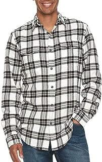 Mens Classic Fit Flannel Shirt White Black Plaid