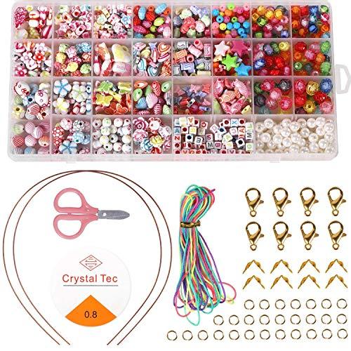 SIMIN Niños Bricolaje Conjunto de Cuentas, Cuentas Coloridas para Hacer Joyas para Niños Pulseras de Bricolaje de Collares
