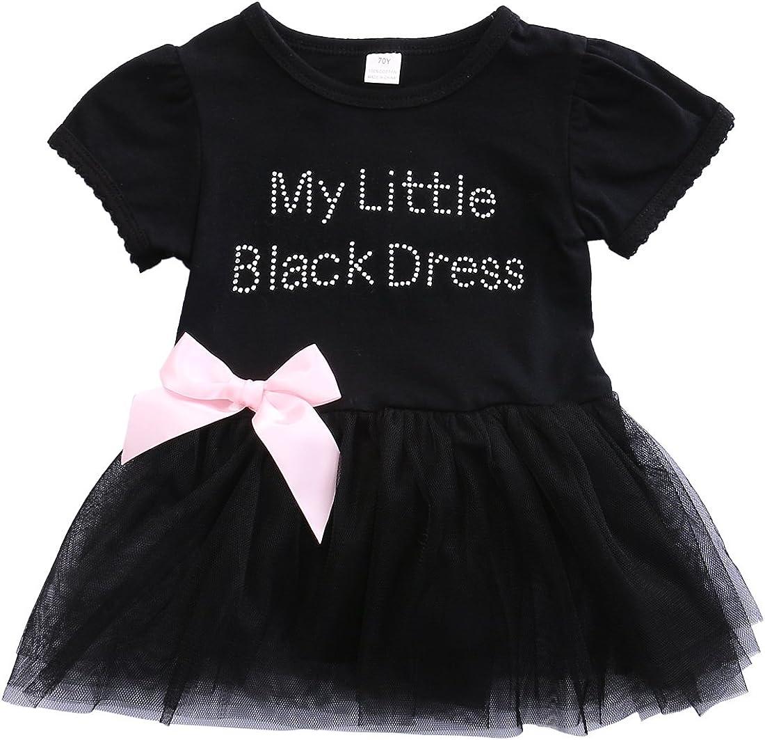 ONE'S Infant Baby Girls gift My Little Detroit Mall Bodysuit Tutu Black Romp Dress