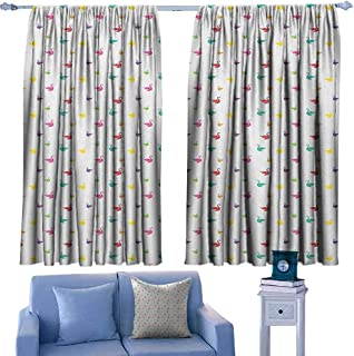 Mannwarehouse Swan Simple Curtain Rainbow Colored Cute Swans Pattern Birds Wings Themed Nursery Kids Artistic Print Darkening and Thermal Insulating 63