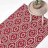 Homescapes Alfombra impresa geométrica 'Riga' 100% alfombra de algodón rojo y blanco, algodón, Rojo y blanco, 90 x 150 cm