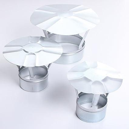 mit Funkenschutz, 120 Regen-Haube mit Einschub Edelstahl-Schornstein Regenhaube Kamin-Hut alle Durchmesser Abdeckung