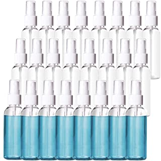 24 Pack 2oz Plastic Clear Spray Bottles,60ml Refillable Fine Mist Sprayer for Essential Oils,Travel