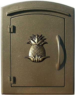 "Qualarc MAN-1405-BZ Manchester Column Mount Mailbox with""Decorative Pineapple Logo"" in Bronze"