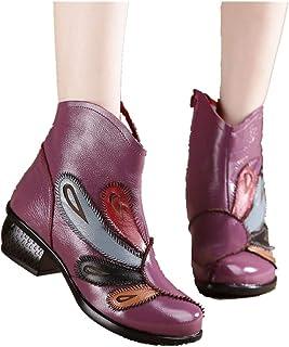 LingGT Colorful Boots Women Zipper Block Ankle Leather Shoes (Color : Purple, Size : AU 3.5)