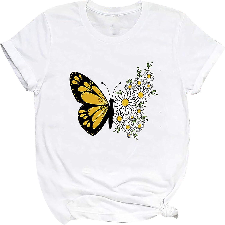 Womens Cute Graphic T-Shirt Summer Casual Printed Shirts Short Sleeve Tees Tops