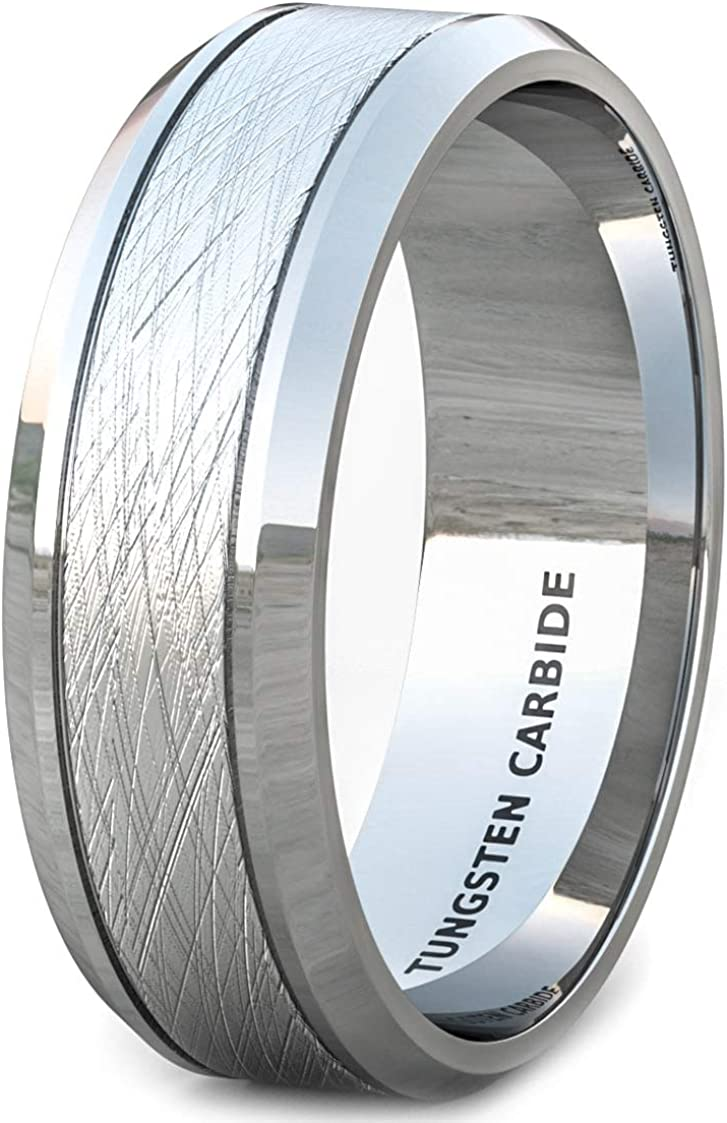 Duke Collections Mens Wedding Band Basic 8mm Gunmetal Tungsten Ring Wire Matte Brushed Beveled Edge Comfort Fit