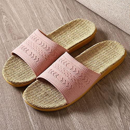 Zapatillas de Moda de Verano,Zapatillas de Lino de Primavera y Verano, Pareja de Zapatos Antideslizantes Inferiores para el hogar-Polvo Rosado_42-43,Zapatillas de Casa