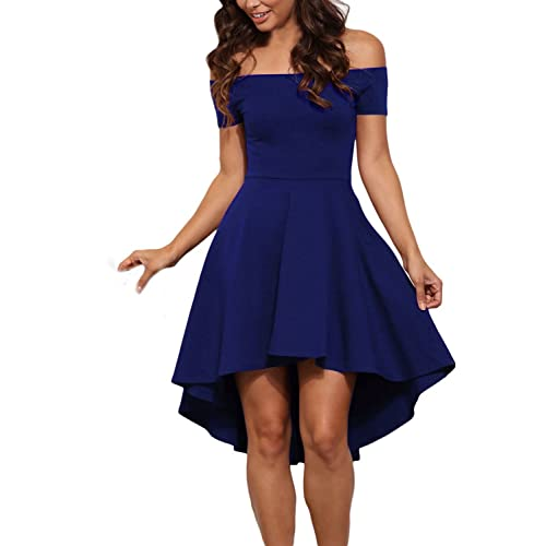 ac7716b30 GREMMI Womens Off Shoulder Skater Dress Flared Swing Party Dresses Cocktail  Dresses