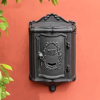 Mailbox - Cast Iron, European Retro Wrought Iron Villa Outdoor Outdoor Wall-mounted Mailbox Mailbox, Suitable For Villas, Courtyards, Homes - 2 Colors Available Outdoor mailbox (Color : BLACK)