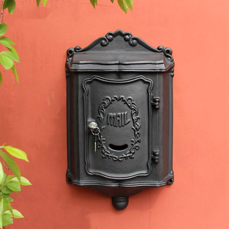 DS-ドンシェンショップ 郵便箱 - 鋳鉄、ヨーロッパのレトロ鍛造の鉄のヴィラ屋外屋外の壁にマウントされた郵便受けの郵便箱、ヴィラ、中庭、家のために適した - 利用可能な2色 && (色 : 黒)
