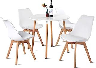 EGGREE Ensemble Table avec 4 Chaises Scandinave, Table Salle à Manger Ronde en Bois 80cm et Chaises Cuisine - Blanc