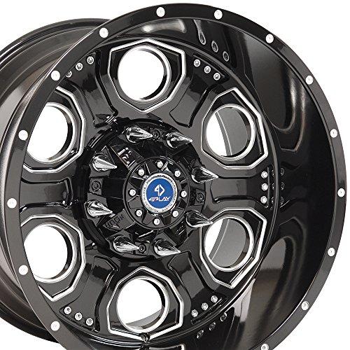 20x12 4Play Revolver Wheels Fit 8-Lug GMC Chevy Trucks and SUVs - Black w/Mach'd Face Rims - SET