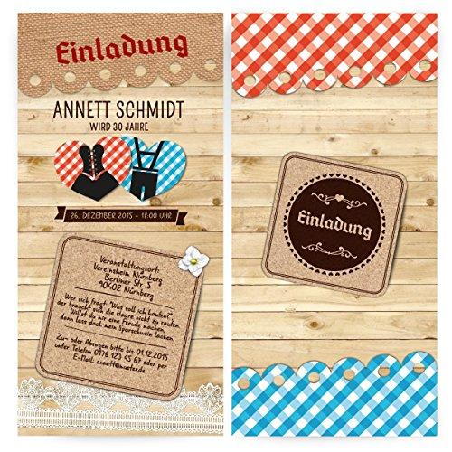 Einladungen (80 Stück) – Dirndl und Lederhose - Oktoberfest Frühschoppen Geburtstag Einladungskarten