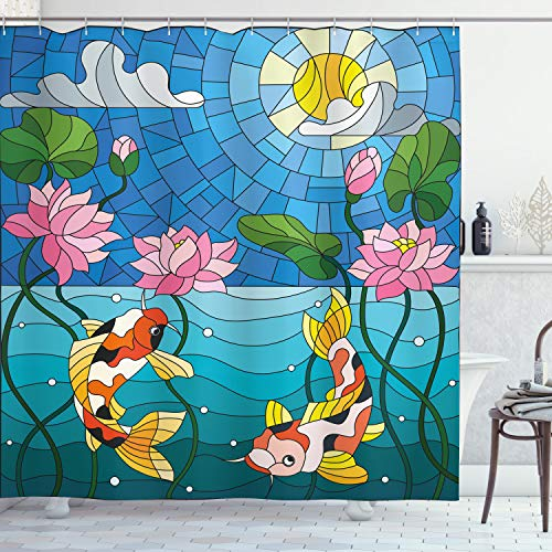 Lunarable Koi Fish Shower Curtain, Stained Glass with...