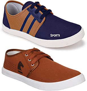 WORLD WEAR FOOTWEAR Men's Multi-Coloured Canvas Casual Shoes/Loafers - Pack of 2 (Combo-(2)-1138-5014)