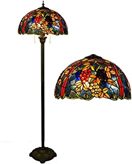 Tiffany Style Floor Lamp, 17 inch Stained Glass Grape Shade Floor Uplighter, 2 Light Antique Base Standing Light for Bedroom Living Room Reading Lighting Fixture