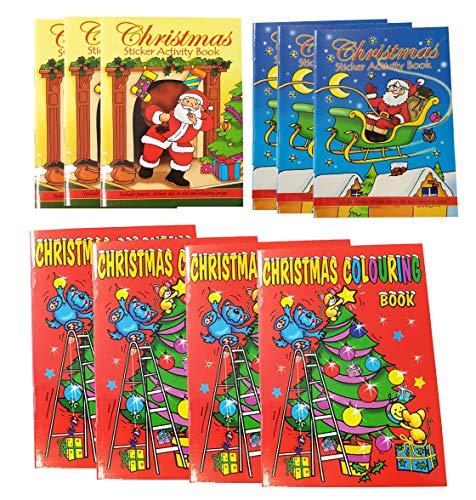 Libetui 10 Weihnachten Malbücher mit Sticker Mini Malbuch Stickerbuch Mitgebsel Geschenk für...