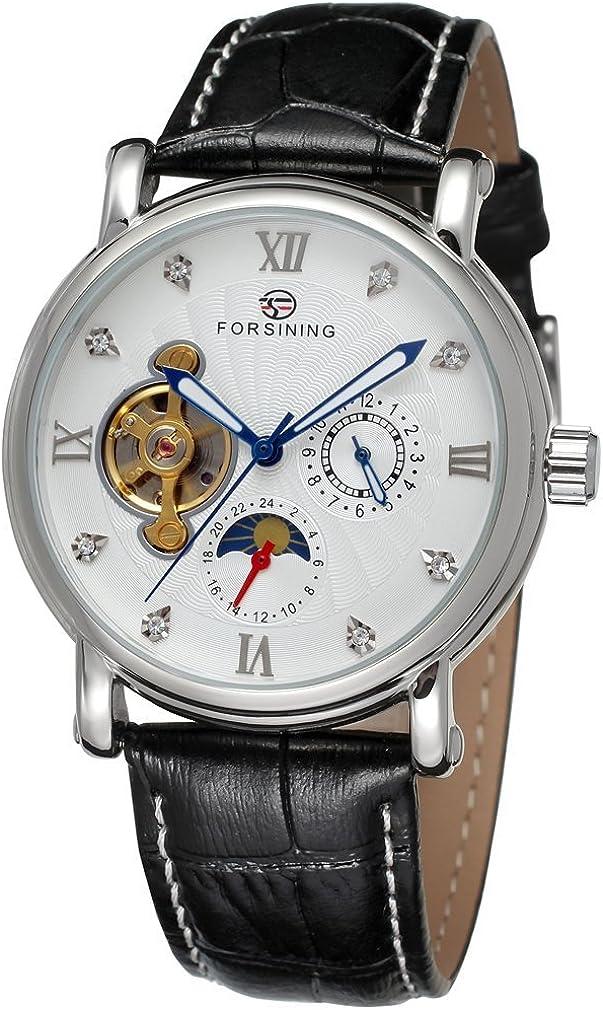Forsining Reloj de pulsera para hombre con correa de piel fase lunar automático de la marca FSG800M3S9