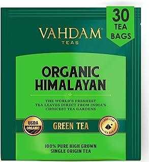 VAHDAM, Hojas de té verde orgánico de Himalaya (30 bolsitas de té), té de pérdida de peso natural 100%, té de desintoxicación, té adelgazante, hojas verdes de té suelto - 15 Ct (paquete de 2)