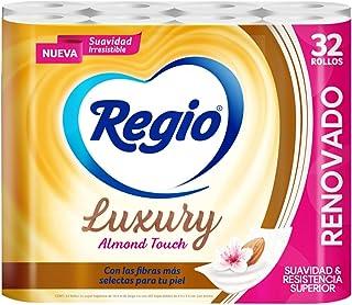 Regio Papel Higiénico Luxury Almond Touch; Ligero Aroma A Almendras Y Hojas Dobles; Marca Regio 32 Rollos, color, 32 coun...