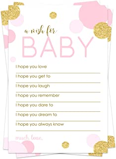 Pink and Gold Wish for Baby Shower Game (20 Pack) Advice and Best Wishes – Wishing Well Cards – Birthday Time Capsule – Twinkle Little Star – Princess Party Supplies