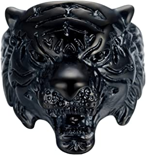 Jewelry Retro Black Stainless Steel Tiger Head Animal Theme Ring For Men's Rings