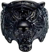 LILILEO Jewelry Retro Black Stainless Steel Tiger Head Animal Theme Ring For Men's Rings