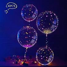Globos con Luces Multicolores Globos de Látex con LED, Globos Transparentes Innovadores, LEEHUR Globos Románticos de Decoración para Fiesta, Cumpleaños, Boda, Navidad, Carnaval, 4 Pcs