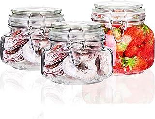 csd 3 PCS scellé stockage Jar alimentaire confiture bouteilles en verre avec boucle Transparent café grains de café boîtes...