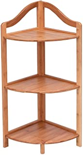 TimmyHouse Corner Shelving 3 Tier Bamboo Free Standing Rack Plant Table Ship Living Room