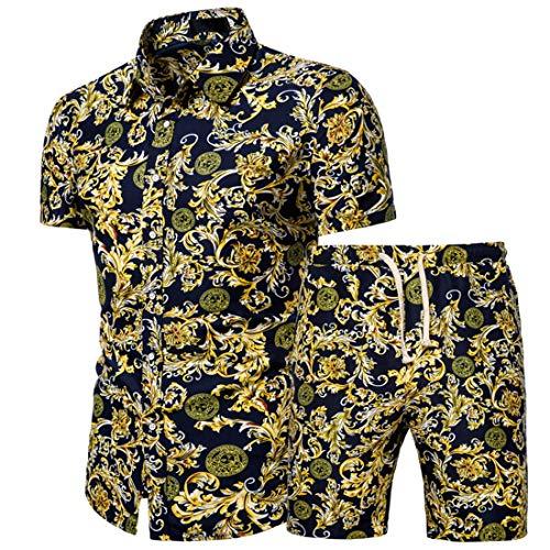 Manga Corta Hombre Moderno Urbano Casual Vacaciones Ajustado Elástico Hombre Hawaiana Camisa Verano Botón Placket Puntos Estampado Manga Corta Set Casual Surf Hombre Shirt K-Yellow(B) M