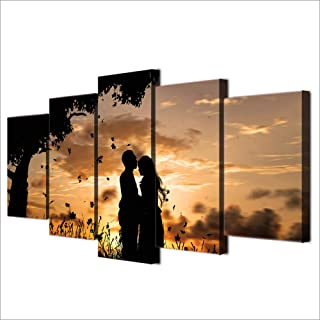 Sanzx Canvas Mural Pictures Home Decoration 5 Under The Tree Couple Sunset Shadow Landscape Painting Hd Print Poster 30 * 40 * 2 30 * 60 * 2 30 * 80Cm Sin marco