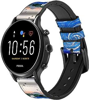 Innovedesire Awa Naruto Whirlpools Ando Hiroshige Correa de Reloj Inteligente de Cuero para Fossil Hybrid Smartwatch Nate,...