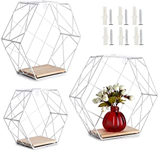 OwnMy Set of 3 Wall Mounted Floating Shelves Metal Floating Display Stand - Hexagonal Storage Display Shelf with Wooden Base, Modern Floating Shelves for Home Decor Bedroom Kitchen Bathroom Office