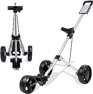 Golf Push Cart Golf Push Cart, 3 Wheel Golf Cart Swivel One Second Folding Golf with Scoreboard Foot Brake, Push Pull Golf...