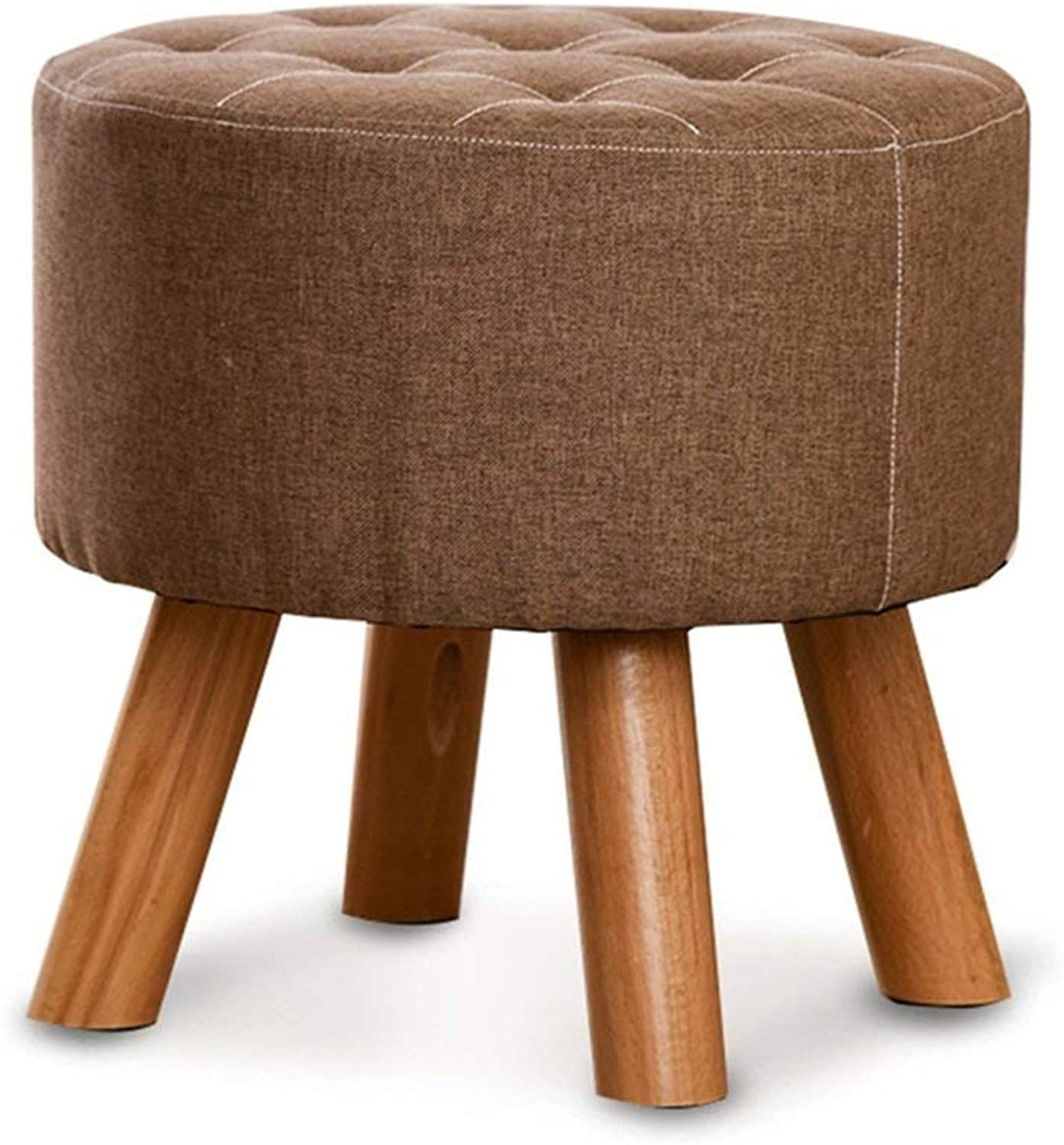 ChenDz Cute Stool Change shoes Stool Fashion Stool Solid Wood Stool Creative wear shoes Stool Fabric Sofa Bench Bench Stool Brown