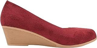 Sapato Feminino Scarpin Camurça Bico Redondo Eleganteria
