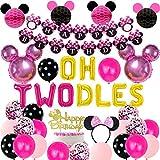 Sursurprise Decoraciones temáticas de Minnie Segundo cumpleaños Rosa Rojo, Oh Twodles Globo Feliz cumpleaños Banner Cake Topper Diadema Set