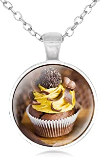Family Decor Purple White Pearl Cupcake Pendant Necklace Cabochon Glass Vintage Bronze Chain Necklace Jewelry Handmade