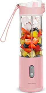 Portable Blender Smoothies Blender on the go Single Serve for Travel - for Mixing Fruit Juice, Milk-Shake, Small Ice with 13 oz Travel Blender Cup, White/Pink (pink personal blender)