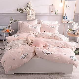 "Toys Studio Pink Rabbit Kids Duvet Cover Set Queen(90""x90""), 3 Pieces(2 Pillowcases, 1 Duvet Cover) Cartoon Animal Cotton Bedding Sets with Zipper Closure Children Duvet Cover for Boys, Girls, Teens"