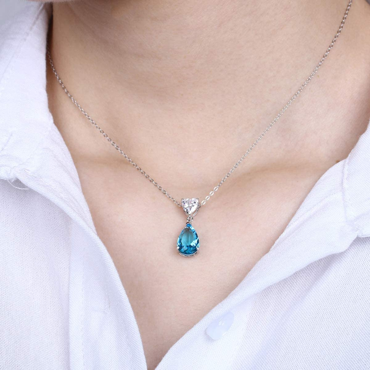 GASTE DE NOYER Blue Topaz Necklace and Stud Earrings 925 Sterling Silver