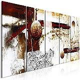 murando Quadro acustico Astratto 225x90 cm XXL 5 pezzi Quadri Moderni su Tela non Tessuta Stampa Protezione dai Rumori Isolamento Acustico Fonoassorbente bianco oro Grigio rosso a-A-0352-b-m