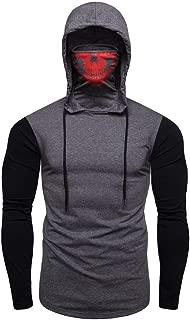 Men's Mask Hoodies Long Sleeve Side Zipper Pocket Thumb Hole Plain Casual Hooded Sweatshirts by URIBAKE