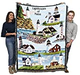 Lighthouses of Maine - Bass Harbor, Cape Elizabeth, Halfway Rock, Sequin, Neddick, West Quoddy, Portland, Pemaquid - Cotton Woven Blanket Throw - Made in The USA (72x54)