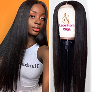 Hermosa Lace Front Human Hair Wigs Pre Plucked with Baby Hair 220% Density 9A Brazilian Straight Human Hair Lace Front Wigs for Women Natural Hairline Black Color (20 inch, 220% Density Straight Wig)