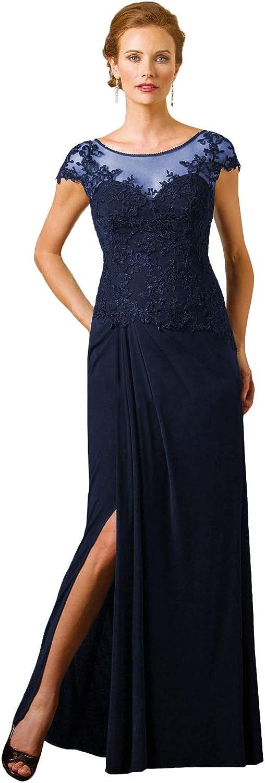低価格 Women's A-line Chiffon Side Slit アイテム勢ぞろい Long The of Bride Dress Mother
