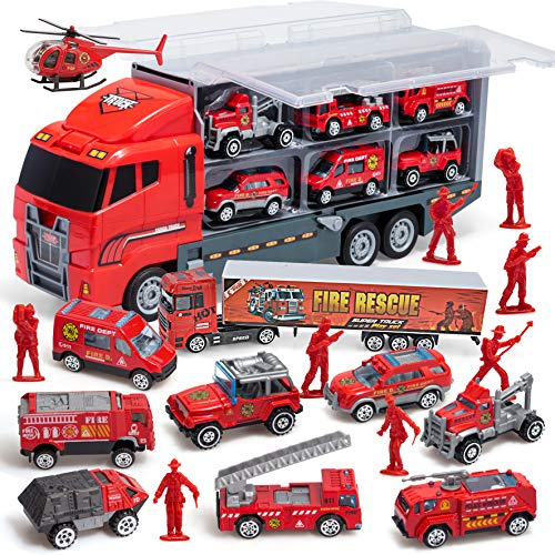 JOYIN 10 in 1 Die-cast Fire Truck Engine Vehicle Mini Rescue Emergency Fire Truck Toy Set in Carrier Truck