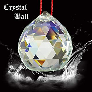 Reiki Crystal Products Vastu Crystal Hanging Ball Sun Catcher Ball Prism Rainbow Ball Sunlight Catcher Glass Ball for Good Luck, Positivity, Home Decor Crystal Ball with Red Thread Pack 0f 1 pc (Color : Clear)